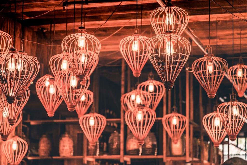 close-up of pendant lamps lit up